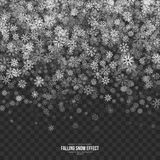 Vector Falling Snow 3D Effect. Falling Snow Effect with Abstract Silver Realistic Vector Snowflakes Overlay on Transparent Background. Christmas Winter 3D Stock Photography