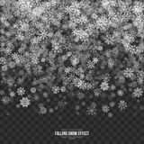 Vector Falling Snow 3D Effect. Falling Snow Effect with Silver Realistic Vector Snowflakes Overlay on Transparent Background. Xmas Winter 3D Illustration Design Stock Photo