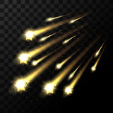 Vector falling stars on transparent background. Space star light shooting in dark Stock Photo