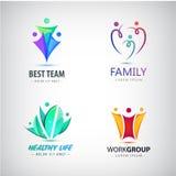 Vector a família estilizada sumário, ícone da ligação da equipe, logotipo, sinal isolado Negócio, grupo de pessoas Foto de Stock Royalty Free