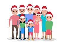 Vector a família feliz dos desenhos animados no tampão de Santa Claus Fotos de Stock Royalty Free