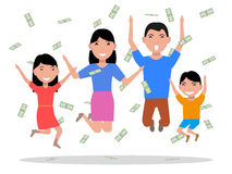Vector a família feliz dos desenhos animados que cai no dinheiro superior Fotos de Stock Royalty Free