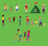 Vector families doing sports and activities Stock Photo
