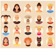 Vector family avatars icons set in flat style. Vector set of family avatars. Smiling family people and domestic animals cartoon characters, icons, flat style Stock Image