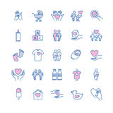 Vector family and children thin line icons set Stock Photo