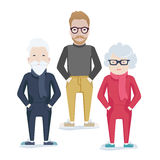 Vector family with elderly parents and son Royalty Free Stock Images