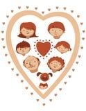 Vector family heart Royalty Free Stock Photo