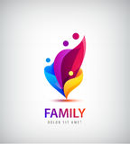 Vector family with kids, 4 people group logo. Royalty Free Stock Photography