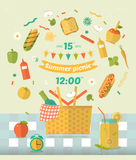 Family picnic glade illustration for nvitation card. Food and pastime icons. Flat. Barbecue items. Stock Image
