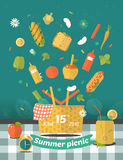 Family picnic glade illustration. Food and pastime icons. Flat. Vector family picnic glade illustration. Food and pastime icons. Flat. Barbecue object,  picnic Royalty Free Stock Image