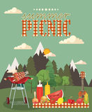 Vector family picnic illustration. Food and pastime icons. Stock Image