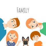 Vector family portrait: mom, dad, son, daughter and dog-french bulldog. Vector family portrait: mom, dad, son, daughter and family dog-french bulldog Royalty Free Stock Images