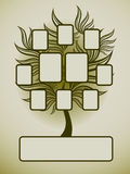 Vector family tree design with frames. And autumn leafs. Place for text royalty free illustration