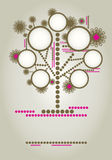 Vector family tree design with frames. And autumn leafs. Place for text stock illustration
