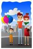 Vector Family Vacation Cartoon Illustration with Colorful Family Cartoon Characters Royalty Free Stock Images