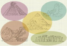 Vector famous architectural antiquities. Vector drawing of the famous ancient architecture Stock Images