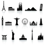 Vector Famous Monument icons Set. A collection of icons of famous places and monuments around the world Royalty Free Stock Photography