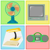 Vector of fan, television, lamp and radio cassette tape Royalty Free Stock Photo