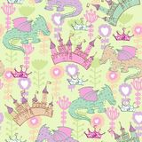 Vector fantastic background. Vector background with castle and cartoon dragons. Seamless pattern can be used for wallpapers, pattern fills, web page backgrounds Stock Photos