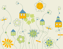Vector with fantastic cottages Royalty Free Stock Photos
