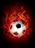 Vector fantastic soccer background. Vector editable fantastic football background with a flaming soccer ball Stock Image