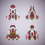Vector fantastic space ships set in flat style Royalty Free Stock Photo