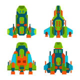 Vector fantastic space ships set in flat style Royalty Free Stock Photography