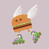 Fantasy burger hot food delivery Royalty Free Stock Image