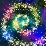 Vector fantasy cosmic galaxy background. Space, nebula and cosmos, stars outer space background with milky way style spiral galaxy. Starry colorful sky Royalty Free Stock Photo