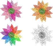 Vector fantasy flowers. Four color variations - pink, autumn, rainbow and black-and-white Royalty Free Stock Photo