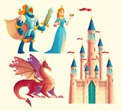 Vector fantasy set - knight, princess, dragon, castle. Vector set of fantasy, fairy tale game design objects isolated on white background. Knight in armor, red vector illustration