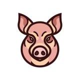 Vector Farbbild des Schwein- oder Schweinkopfes Stockfotos