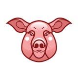 Vector Farbbild des Schwein- oder Schweinkopfes Lizenzfreie Stockfotografie