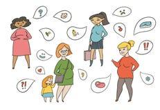 Vector farbigen Skizzenillustrationssatz schwangere Frauen Erwartung des Kindes und des Gefühls Gefühle und Fragen stock abbildung