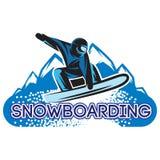 Vector Farbschablone mit Snowboarder in einem Sprung Lizenzfreies Stockbild