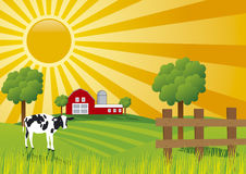 Vector Farm. A colorful  illustration of a sunrise at farm Royalty Free Stock Images