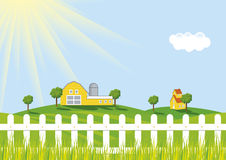 Vector Farm. A colorful  illustration of a sunrise at farm Royalty Free Stock Photo