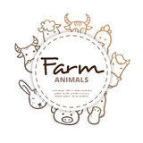 Vector farm animals icons circle composition.