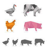 vector farm animals, origami geometric Stock Photography