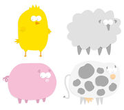 Vector farm animals (paper cut style) Royalty Free Stock Images