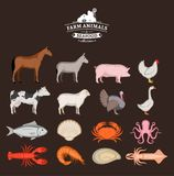 Vector farm animals and seafood collection. Livestock, poultry and seafood icons collection for groceries, meat stores and seafood shop Royalty Free Stock Images