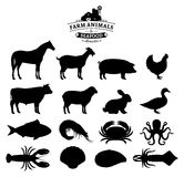 Vector Farm Animals and Seafood Silhouettes Collection. Vector farm animals and seafood silhouettes  on white. Livestock, poultry and seafood icons collection Royalty Free Stock Photo