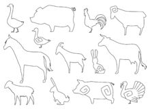 Vector Farm Animals Silhouettes for coloring book Isolated on White. royalty free illustration
