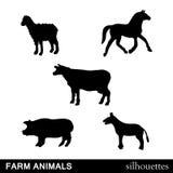 Vector Farm Animals Silhouettes Stock Photo