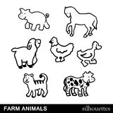 Vector Farm Animals Silhouettes Stock Image
