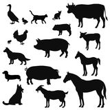 Vector farm animals silhouettes  on white. Livestock and poultry icons. Rural landscape with trees, plants, Royalty Free Stock Photos