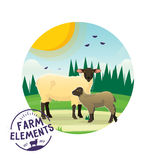 Vector farm cartoon sheep illustration. Farmer lamb icon on the background of sunny landscape Stock Photography