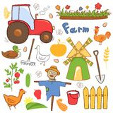 Vector farm cute illustrations set in doodle style Royalty Free Stock Image