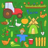 Vector farm cute illustrations set in doodle style Royalty Free Stock Photos
