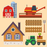 Vector farm harvesting equipment for agriculture and horticulture tractor harvester tools Stock Photos